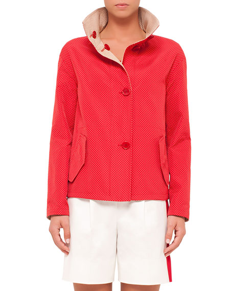 Akris punto Micro-Dot Reversible Jacket, Sport Red Cord