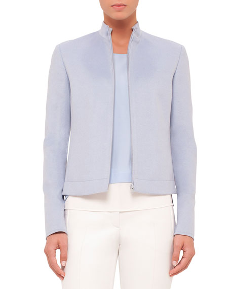 Akris punto Zip-Front Long-Sleeve Jacket, Sky Blue