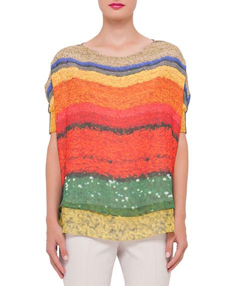 Akris Short-Sleeve Floral-Print Top & Melissa Slim-Leg Pants