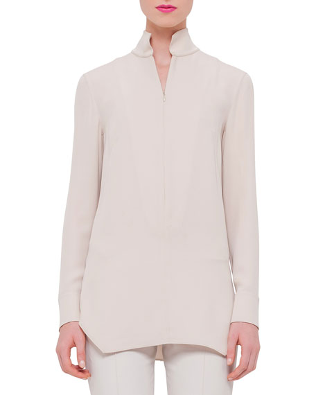 Akris Quilted Cashmere Zip-Front Coat, Long-Sleeve Quarter-Zip
