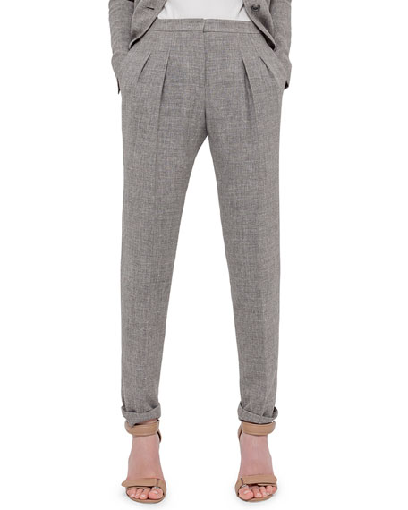 Akris Friday Pleated-Front Pants, Dark Zinc