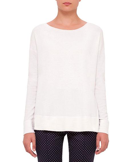 Akris punto Round-Neck Side-Zip Sweater, Cream