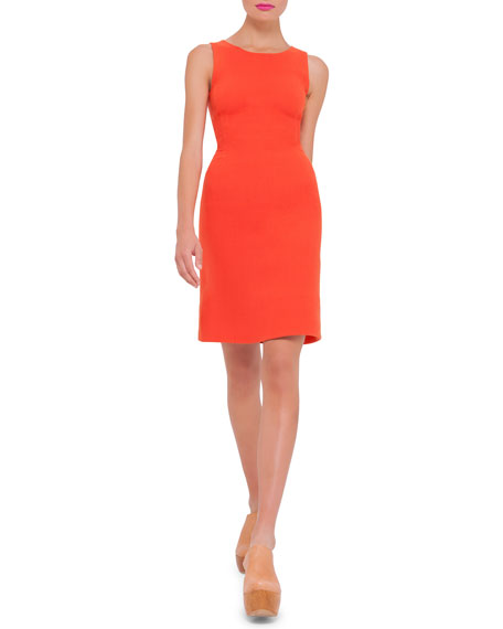 Akris Sleeveless Round-Neck Wool Sheath Dress, Zinnia