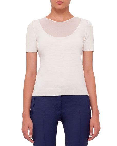 Akris punto Short-Sleeve Sheer-Neck Sweater Top, Cream
