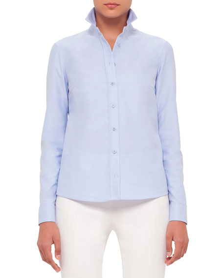 Akris punto Button-Front Embroidered-Back Blouse, Sky Blue