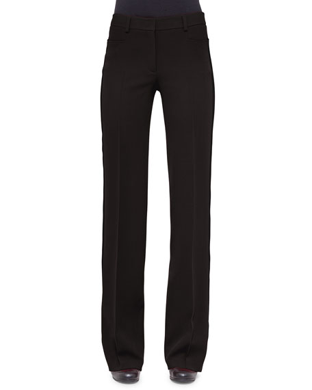 Akris punto Mikka Mid-Rise Wide-Leg Pants, Black