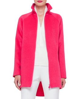 Zip-Front Cashmere Parka Jacket, Rose