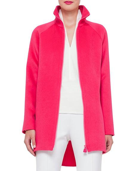 Akris Zip-Front Cashmere Parka Jacket, Rose