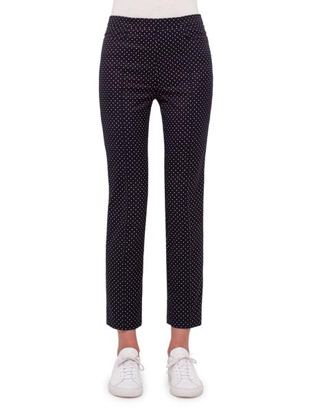 Akris punto Franca Polka-Dot Ankle Pants, Black/Cream