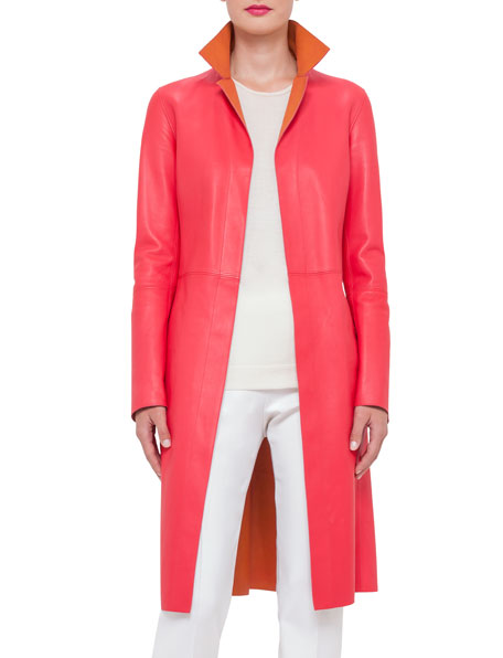 Akris Reversible Leather Long Coat, Rose/Zinnia