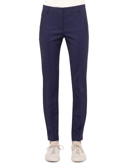 Akris punto Mid-Rise Slim-Leg Pants, Indigo