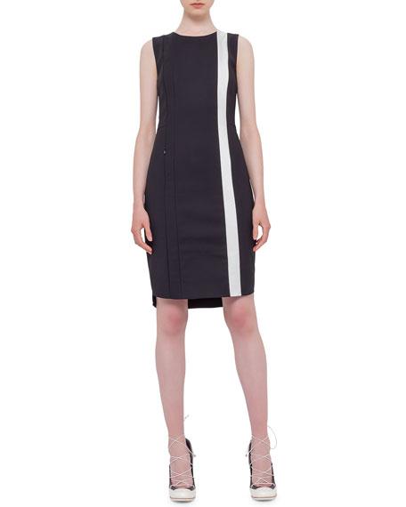 Akris punto Sleeveless Contrast-Stripe Sheath Dress, Black/Cream