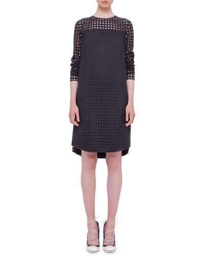 Circle-Embroidered Shift Dress, Black