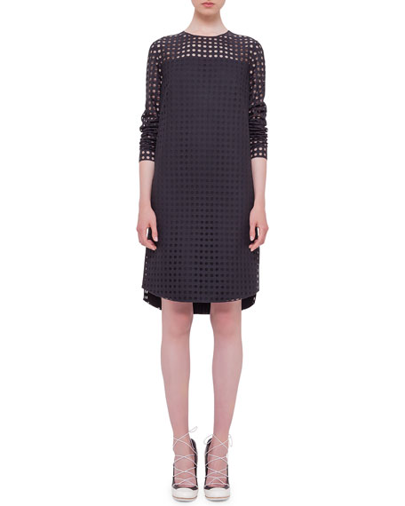 Akris punto Circle-Embroidered Shift Dress, Black