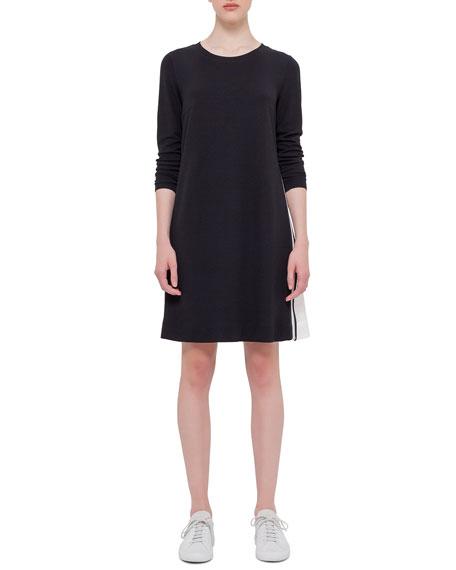 Akris punto Long-Sleeve Mesh-Inset Dress, Black