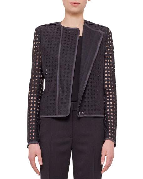 Akris punto Circle-Embroidered Long-Sleeve Jacket, Black