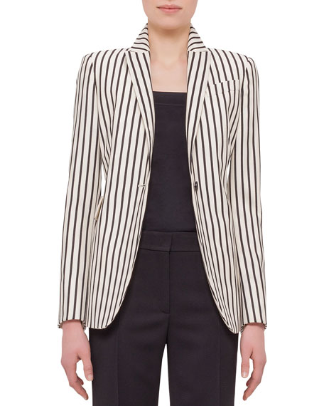 Akris punto One-Button Striped Jacket, Cream/Black