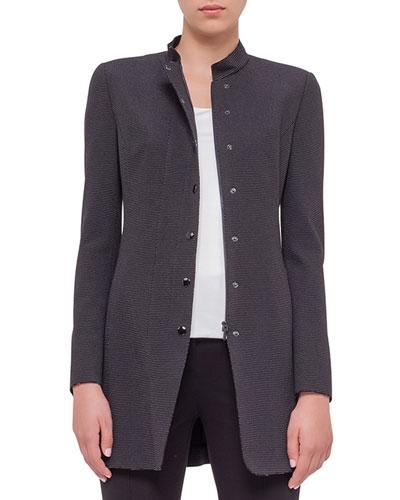 Birdseye-Snap Front Long Jacket, Black Cream