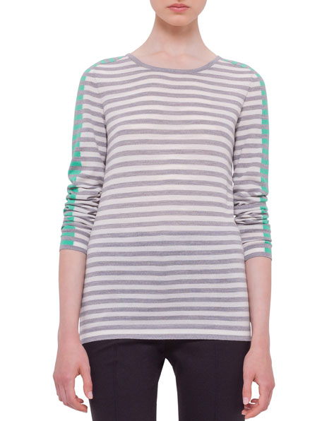 Akris punto Asymmetric-Zip Moto Jacket, Long-Sleeve Striped