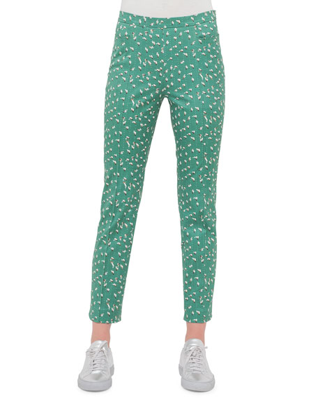 Akris punto Franca Tumbling-Print Ankle Pants, Grass/Cream