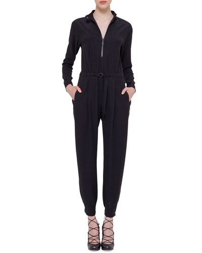 Akris punto Long-Sleeve Zip-Front Jumpsuit. Black