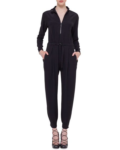 Akris punto Long-Sleeve Zip-Front Jumpsuit, Black