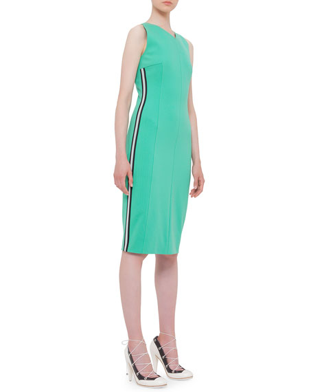 Akris punto Sleeveless Mesh Side-Stripe Dress, Spearmint
