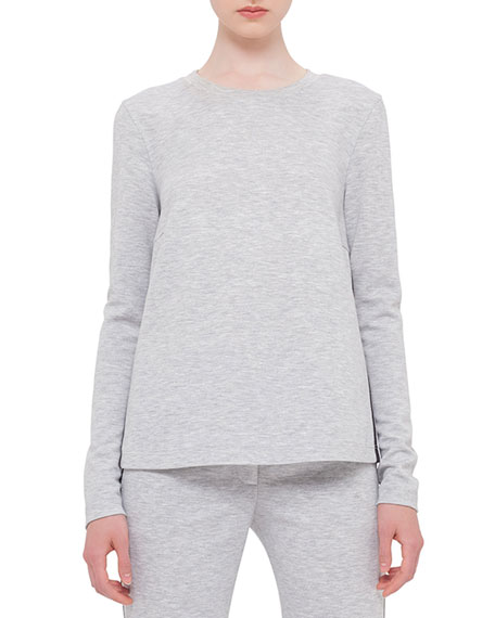 Akris punto Long-Sleeve Mesh-Inset Sweatshirt, Silver