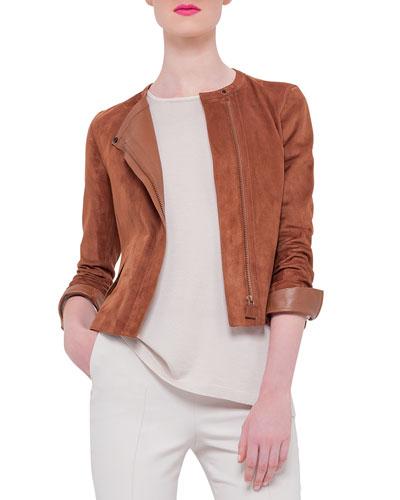 Suede Asymmetric-Zip Jacket, Caramel