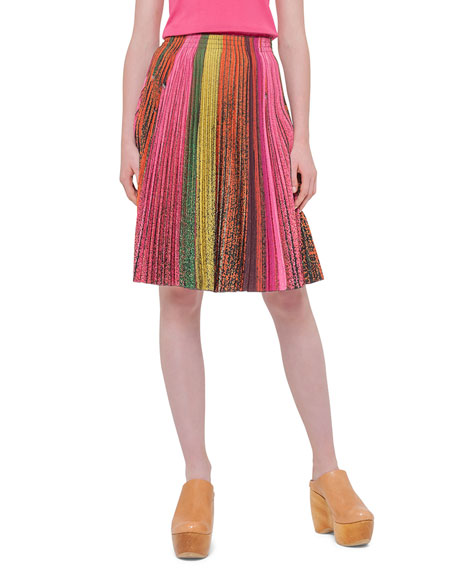 Akris Printed Plisse A-Line Skirt, Multi Colors