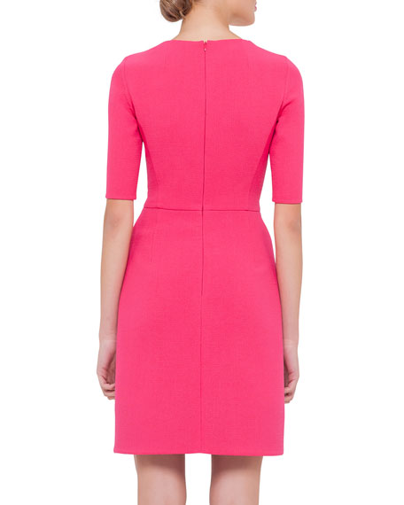 Half-Sleeve Jewel-Neck Wool Sheath Dress, Rose