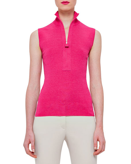 Akris Sleeveless Zip-Front Pullover, Rose