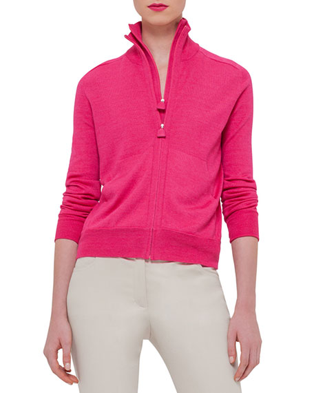 Akris Long-Sleeve Zip-Front Cardigan, Rose