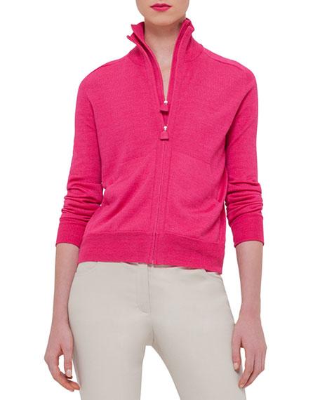 Akris Long-Sleeve Zip-Front Cardigan, Rose