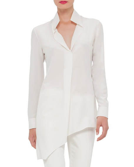 Akris Long-Sleeve Asymmetric Tunic & Melissa Techno Cotton/Silk