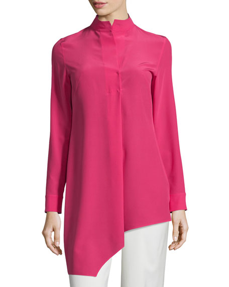 Akris Long-Sleeve Asymmetric Silk Tunic, Rose