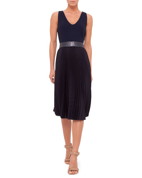 Akris Sleeveless Plisse-Skirt Belted Dress, Navy