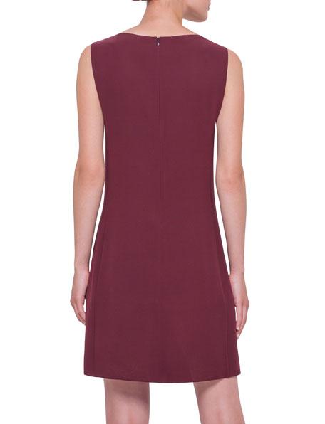 Sleeveless Pleated-Front Sheath Dress, Dahlia