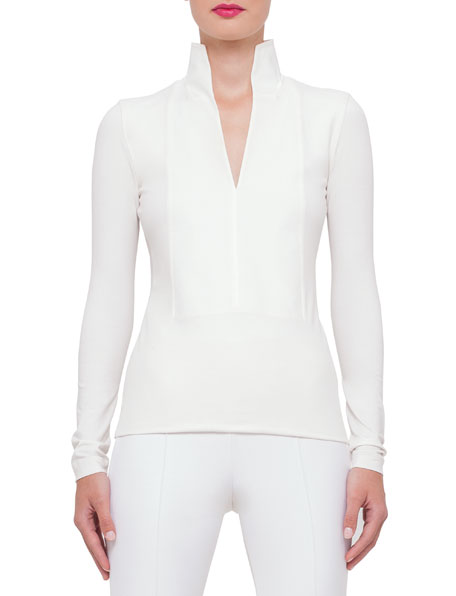 Akris Long-Sleeve Stand-Collar Pullover, Anemone