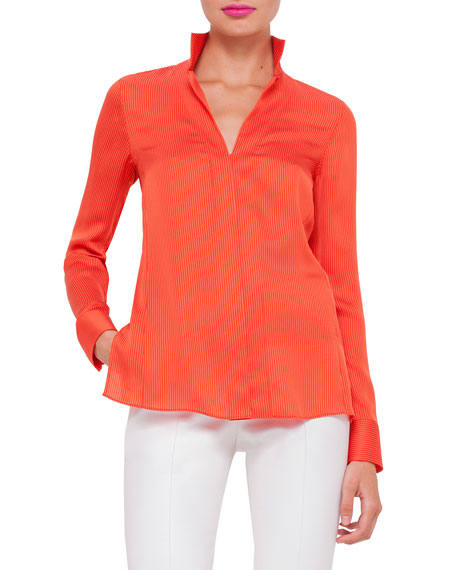 Long-Sleeve Skinny-Striped Blouse, Zinnia