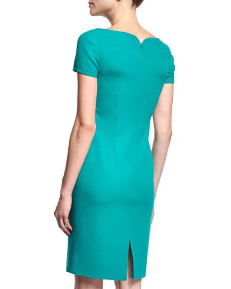 Short-Sleeve Sheath Dress, Turquoise