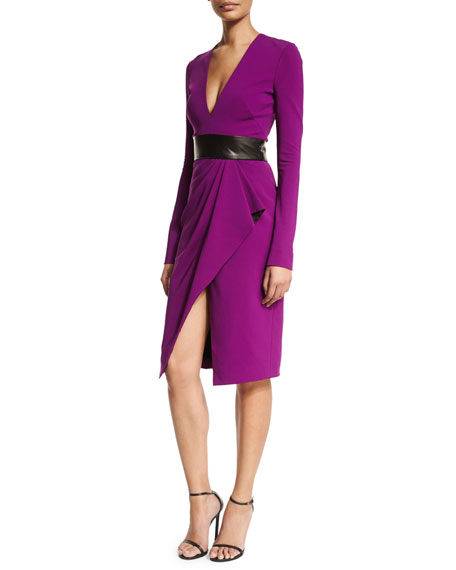 J. Mendel Long-Sleeve V-Neck Cocktail Dress, Orchid