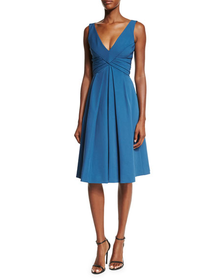 J. Mendel Sleeveless Pleated-Waist Cocktail Dress, Blue Steel