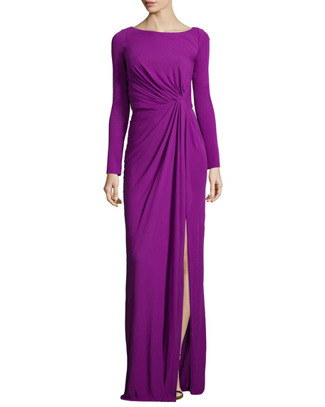 Long-Sleeve Ruched-Waist Gown, Orchid