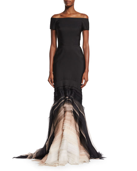 Off-The-Shoulder Ombre-Tulle Gown, Noir