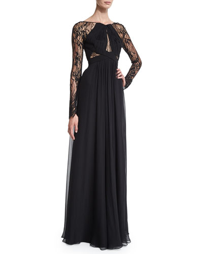 Long-Sleeve Cutout Gown, Noir