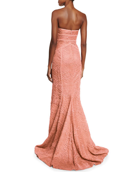 Strapless Tonal-Piping Lace Gown, Coral