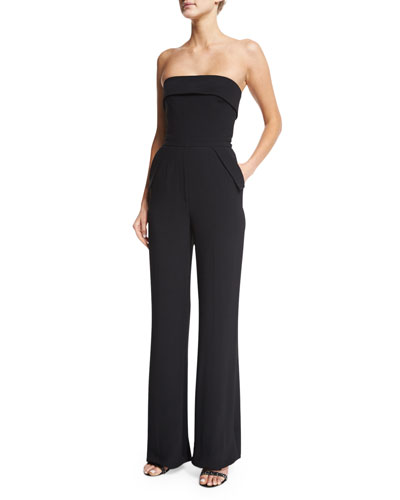Strapless Wide-Leg Jumpsuit, Black