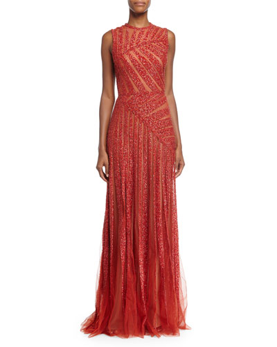 Sleeveless Linear-Beaded Gown, Cadillac