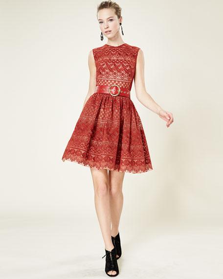 Sleeveless Fit-&-Flare Lace Dress, Cadillac